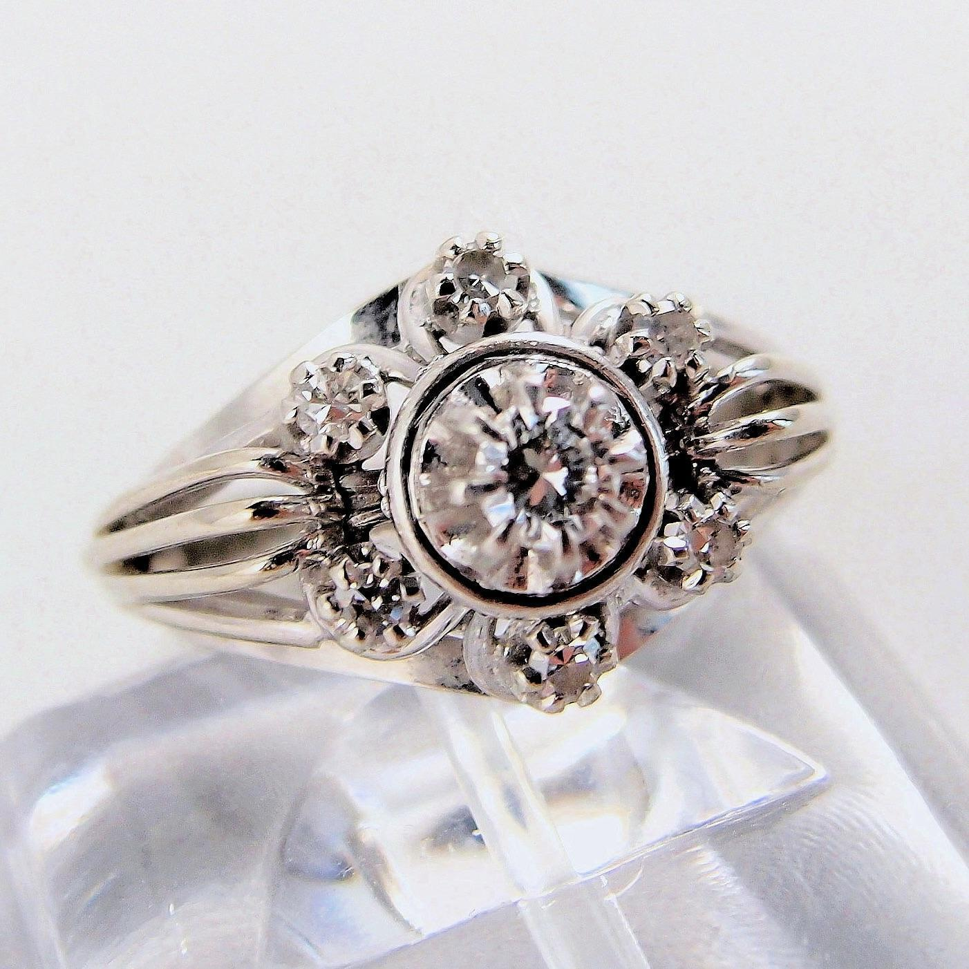 Impressive retro 18k solid gold and diamond cocktail ring for Diamond stamp on jewelry