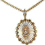 Impressive 18K solid gold necklace, Superb natural diamond pendant with unique chain, Hallmarked