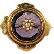 Victorian era 18K solid gold pin with cultured pearls, 1880s French stamped Napoléon III gold brooch, faceted purple stone