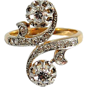 Crossover, Toi et Moi ring, Double diamond bypass ring, stamped 18 carat gold, French alternative engagement ring