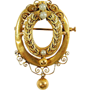 Antique and rare 18K solid gold brooch, late Victorian jewelry, Ca. 1890s gold medallion pin, hallmarked