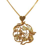 Heavy Art Nouveau Bacchus inspired 18K solid gold heart and grapevine necklace, Stamped pendant and chain