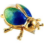 Adorable 18K solid gold enamel beetle, stamped scarab brooch, guilloché enamel, pearl, insect fine jewelry