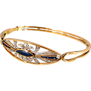 SOLD Art Déco hinged bangle bracelet with calibrated sapphires and diamonds 1.15ctw, French stamped 18K solid gold, Ca. 1920