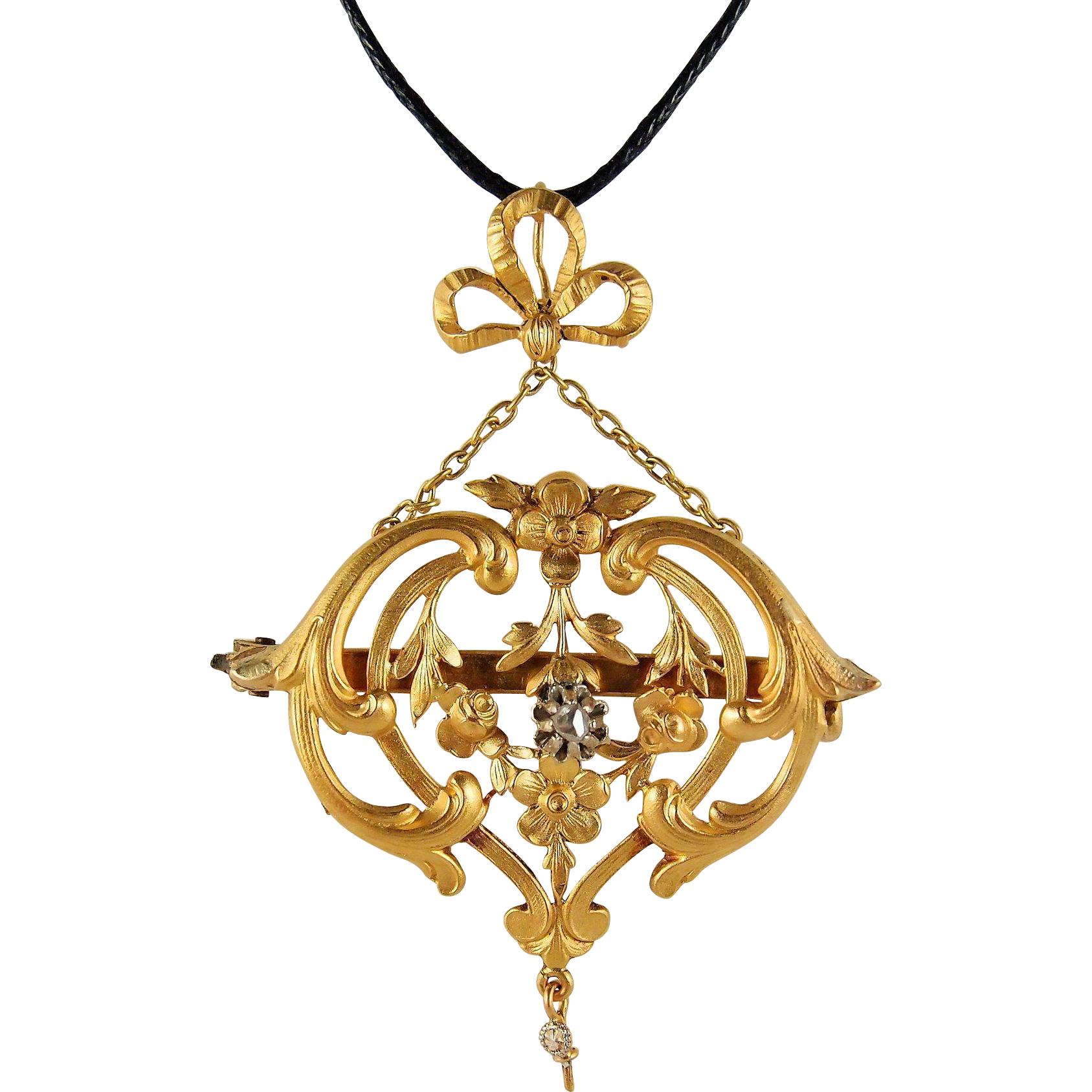 Sold victorian era pendant with diamond 18k solid gold french jewelry
