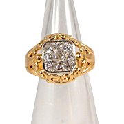 Glamorous and heavy two tone gold and over 1.0ct tw diamond ring, stamped 18K solid gold, old European cut diamonds