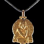 Significant Art Nouveau Stamped 18K solid gold pendant, Meditation symbol, Book reader portrait, Signed piece