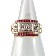 Fabulous Deco platinum and gold bridge ring with diamond, French stamped 18K statement ring