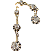 RESERVED Art Nouveau French Stamped dangling earrings in 18K solid gold, platinum and diamonds, Sleepers, drop earrings, Ca. 1912