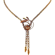 Retro solid gold tassel necklace in stamped 18K with chain and pendant