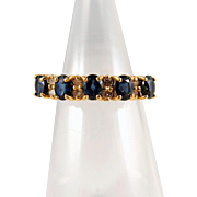True blue sapphire and diamond wedding band, French stamped 18K solid gold engagement ring, bridal jewelry