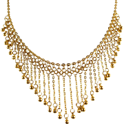 Etruscan revival massive solid gold bib necklace, stamped 18K solid gold, choker chainmail necklace