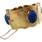 Etruscan revival solid gold cuff bracelet with etched lapis lazuli cabochon, Italian 14K solid gold, stamped fine jewelry, Circa 1880s