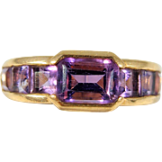 SOLD Amethyst beauty in a band set in 18K solid gold, French stamped gold jewelry, Retro engagement or statement ring.