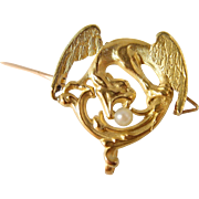 Art Nouveau 18K solid gold dragon brooch, French stamped chimera and natural pearl, Circa 1900s