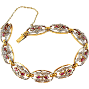 Remarkable Circa 1915 platinum and 18K solid gold bracelet, Rubies and diamonds, French Hallmarked