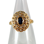 Two tiered diamond and sapphire ring in 18K solid yellow gold, Stamped French festoon design