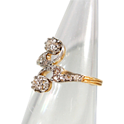 Lovely Art Nouveau double diamond ring in 18K solid gold, Stamped French Crossover fine gold jewelry
