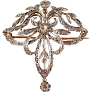 Antique Art Nouveau 18K solid gold brooch with 29 rose cut diamonds, Stamped French pin, Circa 1900s