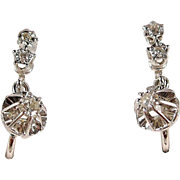 Outstanding 18K solid gold dangling earrings with 6 natural diamonds, 750 fine white gold jewelry, French dormeuses style