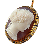 SOLD Fabulous and rare hand carved gemstone, Italian cameo framed in 18K solid gold, pearls, enamel, hallmarked, museum quality