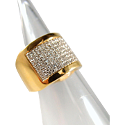 SOLD Distinctive Extra wide band in 18K solid gold with 200 brilliant cut 1.00ct diamonds, heavy multipurpose ring, French stamped