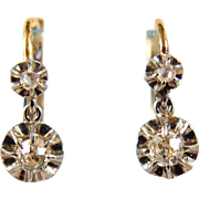 Outstanding French dangling earrings in 18K solid gold, 950 platinum and diamonds, fully hallmarked, circa 1900s
