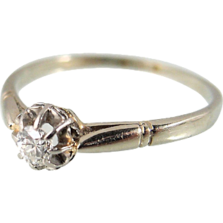 Old European cut elegant diamond solitaire ring in platinum and 18K solid gold, French stamped engagement ring, fine bridal jewelry