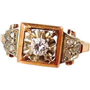 Charming engagement Art Déco solid gold ring, stamped 18K rose and white gold, old French fancy cut diamond