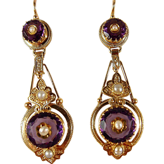 Etruscan revival Victorian era dangling earrings, stamped 18K French gold jewelry, pearls and purple paste