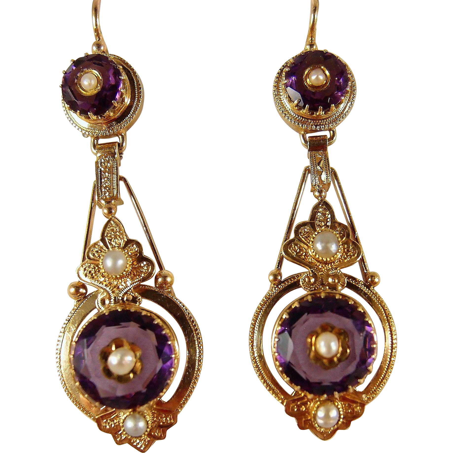 Sold Etruscan Revival Victorian Era Dangling Earrings