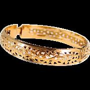 Gorgeous filigree solid gold bracelet, stamped 18K solid cuff, bangle bracelet, security clasp