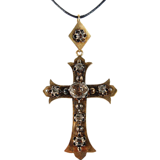 Outstanding antique religious symbol in stamped 18K solid gold and over 2.5ct rose cut diamonds