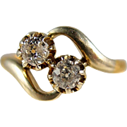 Amazing Edwardian double diamond bypass ring, 18K French gold crossover alternative engagement ring, stamped, numbered