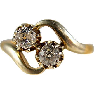 Amazing Edwardian double diamond bypass ring, 18K French gold crossover alternative engagement ring, stamped, numbered, 2 tone gold