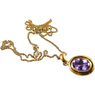 Luminous amethyst pendant in 18K solid gold, French stamped gold jewelry, natural purple gemstone, Fine vintage