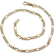 Superb solid gold curb elongated Figaro link chain, 18K gold choker necklace, stamped vintage fine jewelry