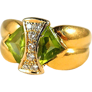 Original peridot and diamond cocktail ring in 18K stamped solid gold, fine French gold ring
