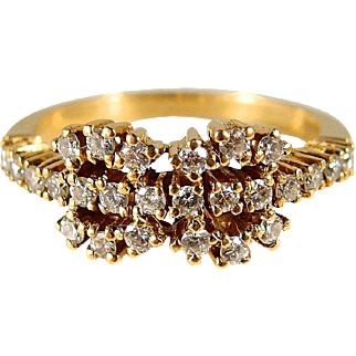 Unique 18K solid gold wedding band with 26 natural diamonds, stamped gold bridal or anniversary jewelry
