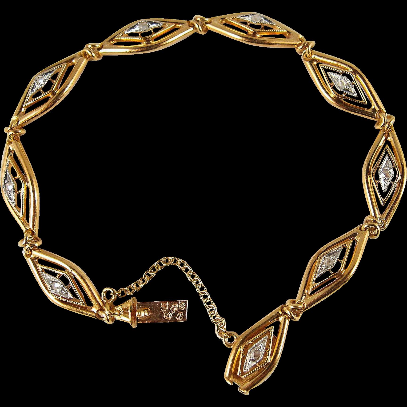 Rare antique bracelet art nouveau art d co influences in for Diamond stamp on jewelry