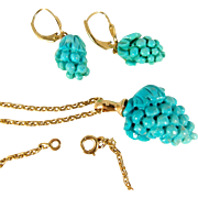 Stunning 3 dimensional natural turquoise set in 18K stamped solid gold, necklace and earrings suite