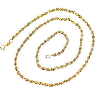 Twisted rope chain in 18K solid gold, stamped fancy link rope necklace, fine jewelry