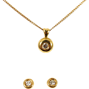 Lovely diamond necklace and earring, 18K stamped solid gold, fine jewelry set