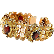 Outstanding Victorian flexible cuff bracelet Stamped heavy 18K solid gold garnets and pearls