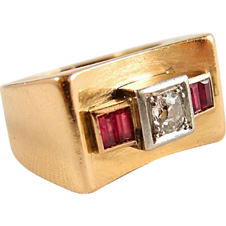 "Solid gold and platinum Deco ""bridge"" ring, stamped 18K old European cut diamond and red paste Fine gold jewelry"