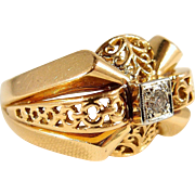 Beautiful ornate solid gold French ring with natural round cut diamond, 18K stamped yellow and white gold