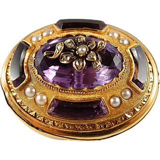 Superb museum quality rare large antique brooch in 18K solid gold, natural amethysts and pearls, fully stamped