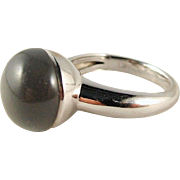 Frederic Bonnet Designer unique moonstone cabochon ring set in 18K solid gold, signed and stamped