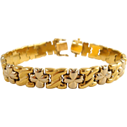 Attractive stamped 18K solid gold bracelet, Vintage Italian design, Two tone gold, security clasp.