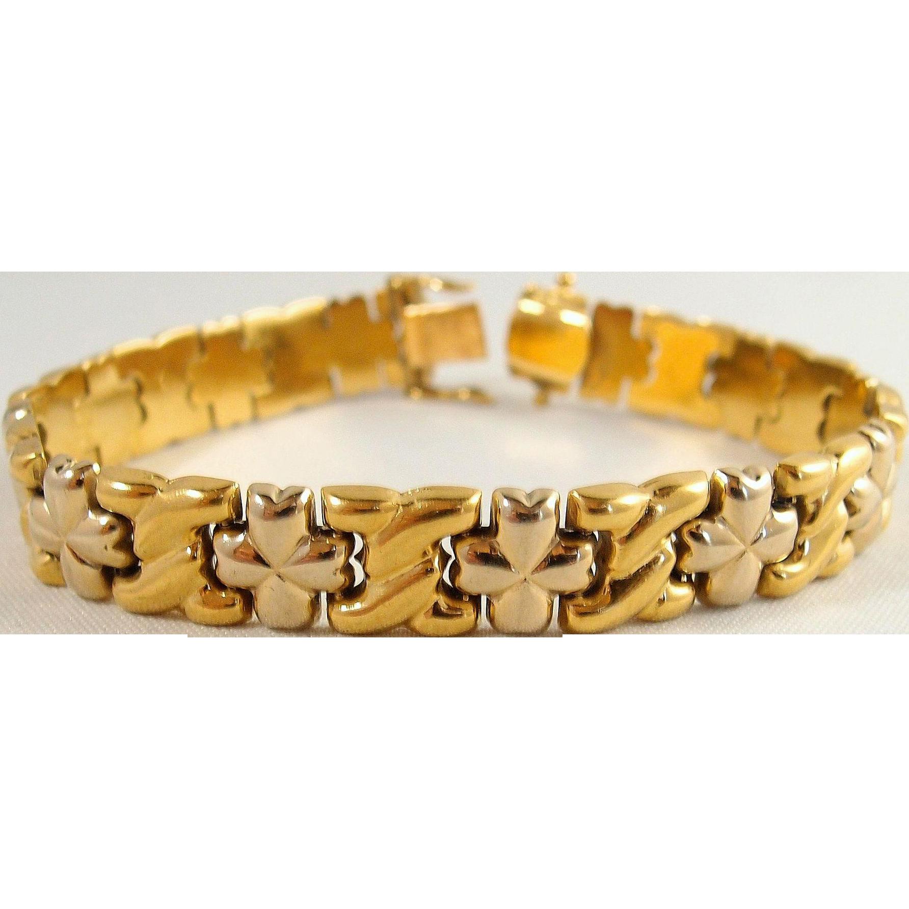 Attractive Stamped 18k Solid Gold Bracelet Vintage